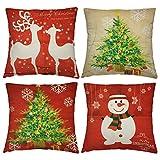 4 Fundas Festivas para Cojines Decorativos – 4 Diseños Navideños - Accesorio de Decoración para Cama, Sillas - Cubierta para Almohada de Sofá, Dormitorio – Adorno y Regalo para Navidad