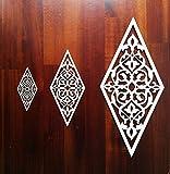 3x Holzornament G=25/11,5 cm Verzierung Möbel Applikation Holz Ornament Raute 145 : (25 x 11,5 cm)