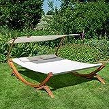 Textil Holz Doppel Gartenliege mit Sonnendach und Kissen von Ampel 24 - 2