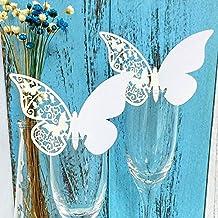 JZK 50 x Nacarado mariposa blanca en copa de vino nombre de tarjeta tarjeta lugar mesa decoración numérica para el bautismo comunión boda fiesta de cumpleaños u otra variada ocasiones