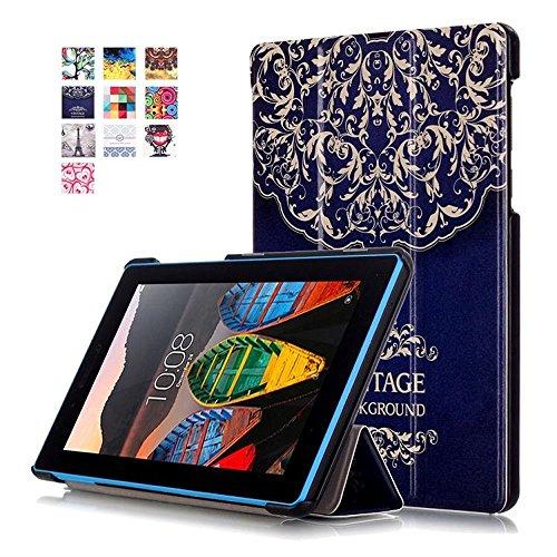 Lenovo TAB3 7 Essential Tasche,Flip Case Cover PU Leder Etui Tasche mit Standfunktion Schutzhülle für Lenovo Tab3 7 Essential / Lenovo Tab3-710F (7 Zoll) Tablet Leder Hülle Ultra Slim Lederetui Schale (#2 Blume-Rebe)