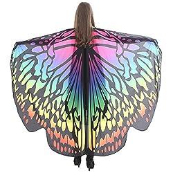 VEMOW Heißer Verkauf Damen Cosplay Party 168 * 135 CM Schmetterlingsflügel Schal Schals Damen Nymphe Pixie Poncho karneval Kostüm Zubehör(X2-Mehrfarbig, 168 * 135CM)