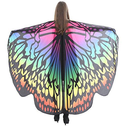 VEMOW Heißer Verkauf Damen Cosplay Party 168 * 135 CM Schmetterlingsflügel Schal Schals Damen Nymphe Pixie Poncho karneval Kostüm Zubehör(X2-Mehrfarbig, 168 * 135CM) (Professionelle Kostüm Verkauf)