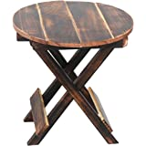 VDIX Beautiful Round Wooden Folding Coffee Table with Vintage Finish Ideal for Outdoor Indoor