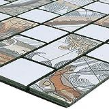 Mosaikfliesen Metall Selbstklebend Pinta Weltkarte Silber Rechteck für Wandverkleidung Badfliesen Bad Mosaikstein