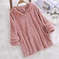 zxc Suéter Ladies\' Hooded Sweater, Pure Color De Doble Cara Chaqueta De Terciopelo,Rosa,S