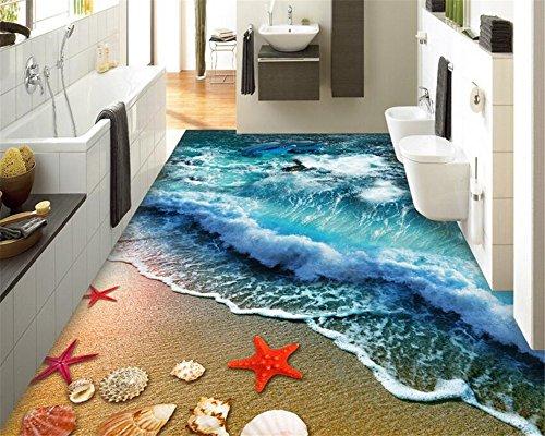 Lqwx Home Badezimmer Schlafzimmer Erdgeschoss Selbstklebende Tapete Strand Strand Wellen Surfen 3D Bodenfliesen Malerei 3D-Bodenbeläge-120Cmx100Cm
