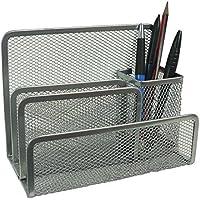"""VANRA - Organizador de bolígrafos de tamaño pequeño con 3 ranuras para clasificador de correo y 1 portalápices de malla metálica, color plata 6.8"""" W x 3.5"""" D x 5.3"""" H"""