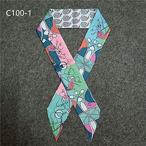 Kette, Seide Krawatte (HQYYDD Paisley-Kette Dünne Schal Für Frauen Mode Pferd Druck Handtasche Schal Marke Silk Frauen Krawatte Mode Gürtel Kopftücher C100-1)