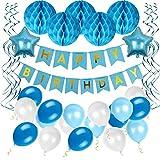 Ohigh Happy Birthday Blau Geburtstag Deko Set, Girlande mit Luftballons Weiß Blau Wabenbälle Spirale Kindergeburtstag Junge Geburtstagdeko Partyset