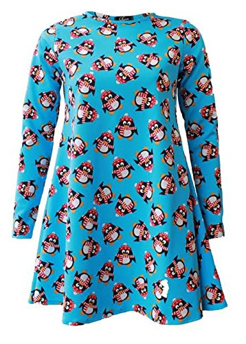 Generic - Robe - Patineuse - Manches Longues - Femme Blue Penguin