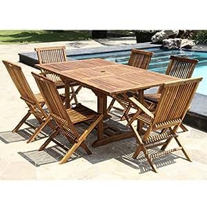 Salon de jardin teck huilé 6/8 pers Table rect.larg 100cm long 120/170cm + 4 chaises + 2 fauteuils pliants