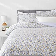 AmazonBasics Microfiber 3-Piece Quilt/Duvet/Comforter Cover Set - King, Blue Floral - with 2 pillow covers