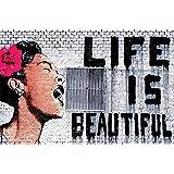 """Banksy-""""Life is beautiful"""" - Papel pintado- Life is beautiful papel pintado de la pared -Banksy Streetart decoración de la pared - GREAT ART 140 cm x 100 cm"""