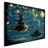 Feeby. Wandbild - 1 Teilig - 60x40 cm, Leinwand Bild Leinwandbilder Bilder Wandbilder Kunstdruck, Starry Saiyan - DDJVigo, Anime, Marineblau