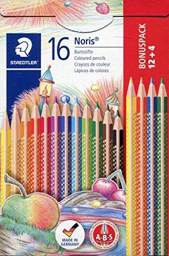 Staedtler Noris Club 127 NC12P1 Buntstifte, erhöhte Bruchfestigkeit, kindgerecht nach DIN EN71, PEFC-Holz, Set mit 12 brillanten Farben + 4 gratis
