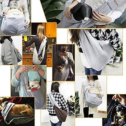 poppypet Pet Sling Carrier, Hands-free Sling Pet Dog Cat Carrier Rabbit Bag Comfortable Shoulder Bag, Double-sided Pouch… 8