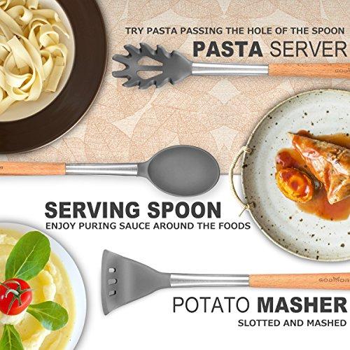 Godmorn – Set di utensili da cucina (9pezzi), utensili da cucina in silicone antiaderente, per cucinare–silicone e acciaio inox e manico in legno – kit per pentole e padelle - 5