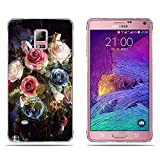 Fubaoda Samsung Galaxy Note 4 Hülle,[Blauer Weißer Blumenstrauß] Anti-Dropping PC Handy-Tasche Back-Cover Ultra Slim Weich Silikon Transparent Designs Schutzhülle für Samsung Galaxy Note 4
