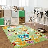 carpet city Kinderteppich, Teppich Flachflor für Kinderzimmer mit Bunten Eulen-Motiv in Grün, für Jungen und Mädchen, Größe: 120 x 160 cm