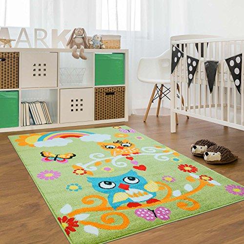 carpet city Kinder Teppich für Das Kinderzimmer Öko Tex 100 2773 Freundliche Eulen auf Dem AST mit Regenbogen grün 140x200 cm