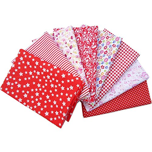 KING DO WAY 8 Stueck Baumwolltuch Stoffpakete Assorted vorgeschnittene Fat Quarters Bundle Charme Cotton Quilt Stoff Patchwork rot Serie 50x50cm (Stoff Quilt Rote)