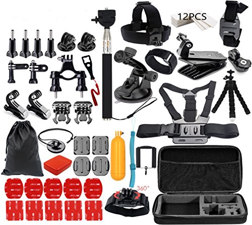 Galleria fotografica STLION Kit di Accessori per Gopro Hero 5 4 3+ 3 2 1 SJCAM SJ4000 SJ5000 SJ6000 and Set Action Camera Accessori per Xiaomi Yi Fotocamera 4K Campark e Sony Sport Dv Lightdow WiMiUS DBPOWER