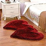 #9: Style Your Home Super Soft Silky Non-Slip Heart Shape Shaggy Carpet Runner, Mats For | Bedroom | Living Room | Floor | Home Decoration (Maroon)