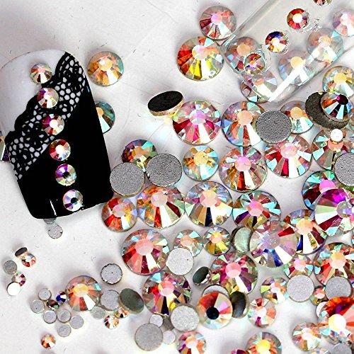 jollin Kristalle Glue Fix Flatback Strasssteine Glas Glitzerelementen Gem Glitzersteine, Crystal AB, SS16 1440pcs (Kristalle Von Swarovski Flatbacks)