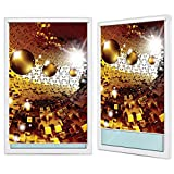 Verdunkelungsrollo Rollos Fensterrollos, Montage ohne Bohren | Welt-der-Träume| 3D Puzzle Tunnel mit Golden Kugeln | F6 (120cm. x 200cm.) | Blackout Roller Blinds FTB20159F6-AW | Abstraktion Gold Kugeln Puzzeln Tunnel 3D Blitz