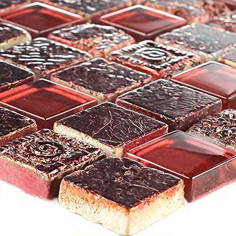 Glas Kalkstein Marmor Mosaik Lava Rot Duo