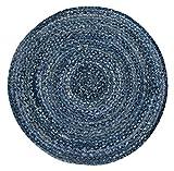 Luxor Living Teppich Mamda aus Jute, rund, strapazierfähig, handgeflochten, Farbe:Blau, Größe:Ø 80 cm