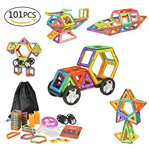 eLander Magnetische Bausteine Kinder 101tlg Magnetspielzeug, 3D Pädagogische Spielzeug, Geburtstag Kindertag Geschenk für Kinder ab 3 Jahre