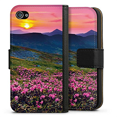 Apple iPhone X Silikon Hülle Case Schutzhülle Blumenwiese Sonnenuntergang Abendrot Sideflip Tasche schwarz