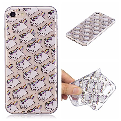 iPhone 8 Hülle, Voguecase Silikon Schutzhülle / Case / Cover / Hülle / TPU Gel Skin für Apple iPhone 7/iPhone 8 4.7(Karikatur Flamingo) + Gratis Universal Eingabestift Regenbogen Katze