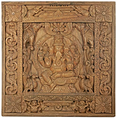 The Throne Ganesha Panel - South Indian Temple Madera Tallada