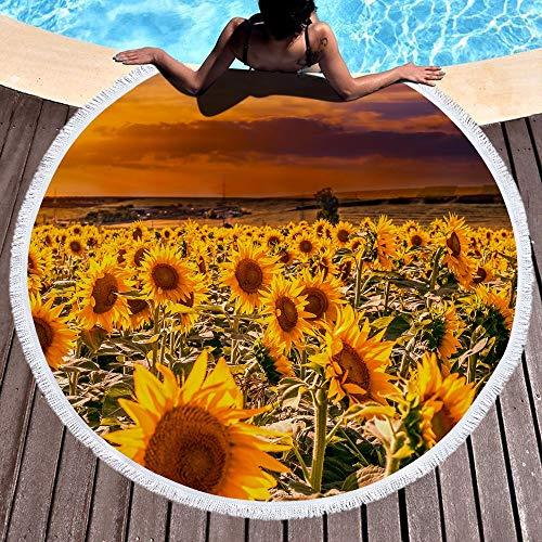 GLONG Toalla de Playa Redonda Toalla de baño La Alfombra Tapiz Estera...