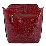 LeahWard Small Size Ladies Womens Chic Cross Body Bag Faux Crocodile Skin Across Body Handbags 160402 (C-FLAX)