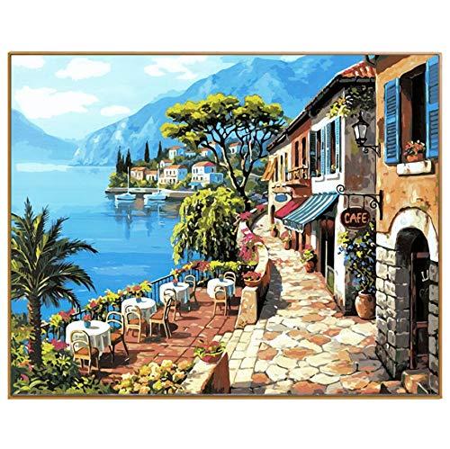 YKCKSD Puzzle 1000 Teile Cafe House Seascapes Bild DIY Hand Ed Landschaftsbild Für Dekor