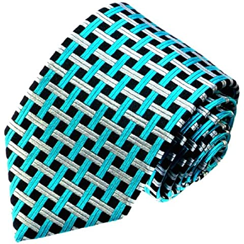 Lorenzo Cana–Petrol Plata Turquesa Verde Negro Cuadros corbata de seda 100%–84484