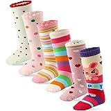 Cottock 6 Pares Bebé Niña Calcetines Hasta la Rodilla Algodón Calcetines Antideslizantes para Niñas