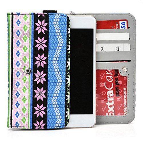 Kroo Téléphone portable Dragonne de transport étui avec porte-cartes pour Prune Pilot Plus Multicolore - noir Multicolore - bleu