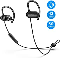 OneAudio Bluetooth Kopfhörer In Ear, Kopfhörer Sport V5.0 / 13 Stunden Spielzeit / Mikrofon CVC Lärmreduzierung / IPX4 Wasserdicht, Kopfhörer Bloothooth Kabellos für Rennen Joggen Headset Workout, Ohrhörer mit Ohrbügeln für iPhone, iPad, Samsung, Huawei, HTC und mehr (Schwarz)