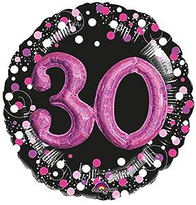 Amscan International 3597601 - Globo de Papel de Aluminio para cumpleaños (30 Unidades), Color Rosa