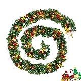2.7m Weihnachtsgirlande Tannengirlande Beleuchtet 100 LED Weihnachtsdeko Beleuchtung Lichterkette DIY bunt Weihnachten Girlande Tanne Dekoration 270cm 1 Stück