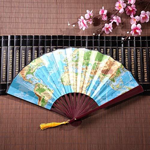EIJODNL Bambus Griff Fan physikalische Karte Welt mit Bambus Rahmen Quaste Anhänger und Stoffbeutel persönliche Hand Fan Womans Hand Fan Folding Fan Design - Womens Quaste