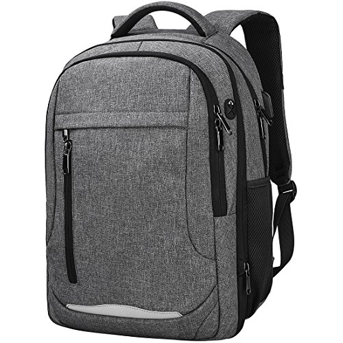 NEWHEY Zaino PC 15.6 Laptop backpack Impermeabile Computer Notebook Zaini USB Multifunzionale Portatile Borsa Uomo Lavoro Viaggio Bussiness Grigio