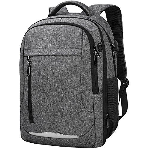 Laptop Rucksack 15.6 Notebook Rucksack Wasserdicht Usb Ladeanschluss Business Backpack Damen Herren Arbeit Schule Universität Daypack Grau