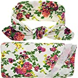 Newborn Baby Sleep Swaddle Sack Wrapped Blanket & Rabbit Ears Elastic Flowers Bowknot Headband Set (White)