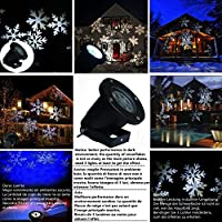 GESIMEI LED Flood Lights Indoor/Outdoor Moving White Snowflake Landscape Projector Lamp Christmas Tree Garden Patio Stage House Decoration by GESIMEI